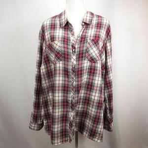Christopher Banks Red Navy Plaid Button Front Top